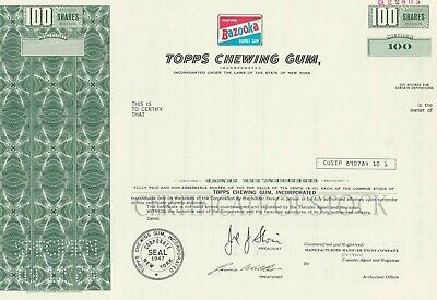 Topps Chewing Gum Bazooka Specimen Stock Certificate Scarce Sports Cards 1978