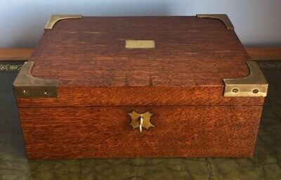 Antique 19th Century Oak And Brass Mounted Box With Key