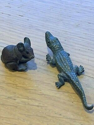 Gerschutz metal crocodile (damaged) and a small metal painted mouse