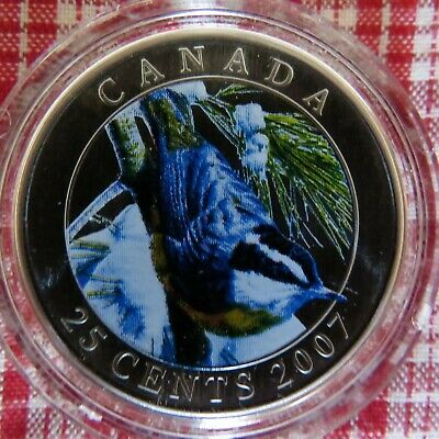 2007 Canada Red-breasted Nuthatch Colourized 25-Cent coin – Box & COA