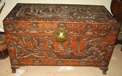 Antique carved Chinese hope chest trunk camphor