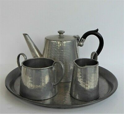 English Hammered Pewter Art Deco Bachelor's Tea Set And Tray Reliable Sheffield