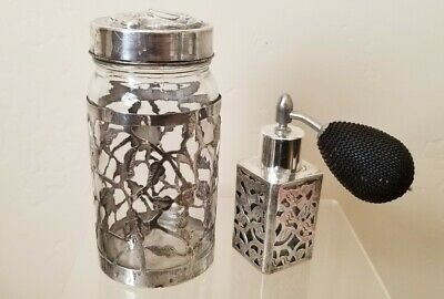 Vintage Mexican Sterling Silver 925 Overlay Glass Perfume Bottle and Jar - MGP