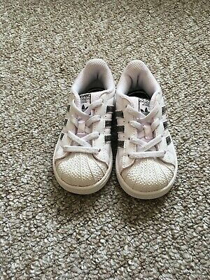 Adidas Superstar Girls White trainers at size Infant UK6 EU23