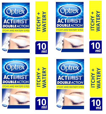 2 in 1 eye spray Optrex Actimist Double Action Itchy and Watery Eyes 4 X 10ML -