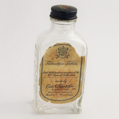 Antique Boston Otis Clapp & Son Pharmacy Bottle With Label Trituration Tablets