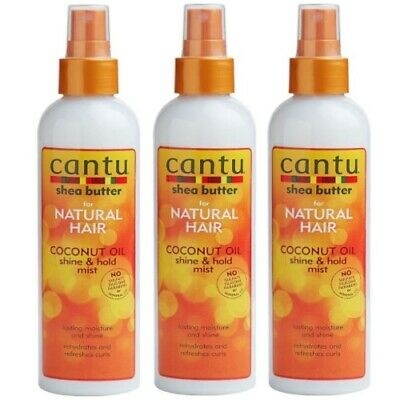 Cantu Shea Butter For Natural Hair Coconut Oil Shine & Hold Mist 237ml 3er Pack