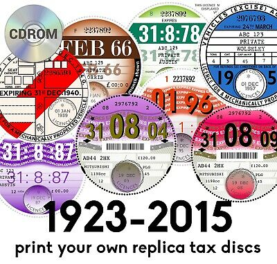 REPLICA ROAD TAX DISCS All years 1923-2015. Edit, customise and print yourself