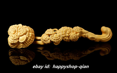 28*6.2cm Chinese Fine Box-wood Hand-carved Glossy Ganoderma Ruyi Ornament Statue