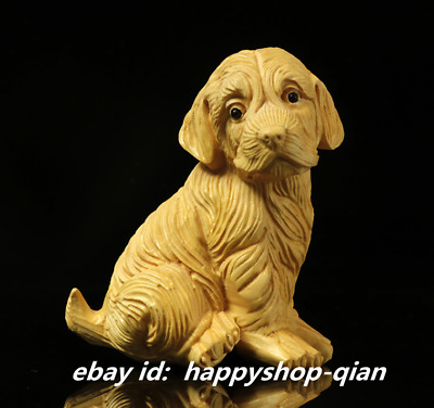 """2.4"""" Chinese Box-wood Hand-carved Twelve Zodiac Year Animal Golden-haired Dog"""