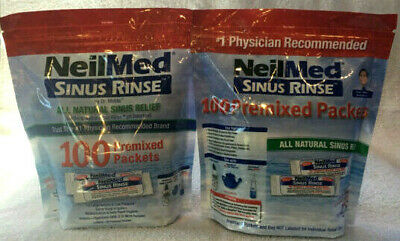 NeilMed Sinus Rinse 100 Premixed Packets Lot of 2 - Total 200 Packets - New