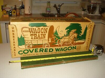 Scarce 1960 Marx Wagon Train Covered Wagon Toy With Box Based On The Tv Series