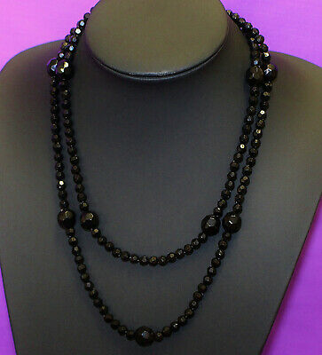 Vintage Jet Black Beaded Necklace Signed ICING Long Threaded Wire Two Sizes 819