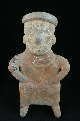 "Pre-Columbian Nayarit pottery figure w/slip decoration. c. 100bc-450ad. 8 ½"" t."