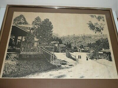 VINTAGE INK DRAWING OF BELGRAVE  SHOPS MAIN STREET LATE 1800s SIGNED R.M. BURTON