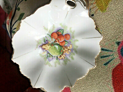 Fruit design plate, Japanese, leaf shape, 16cms x 12cms