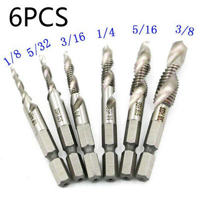 6pcs 1/4 Hex Shank Tap Countersink Drill Bit HSS Spiral-fluted Screw Thread new