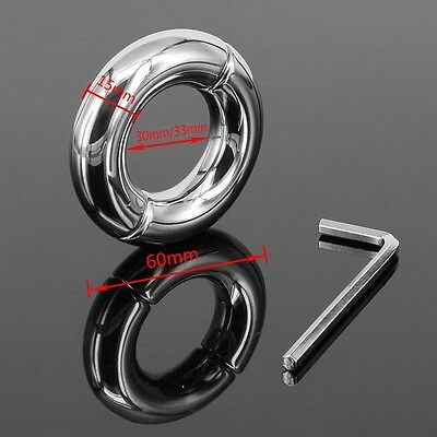 Stainless Steel testicle Ball Stretcher Ball Weight Delay Time  Ring 28mm-50mm