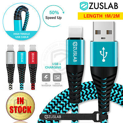 ZUSLAB Nylon USB Lightning Charging Cable Data For Apple Charger iPhone iPad