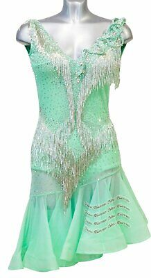 L1933 ballroom Rhythm salsa Latin samba swing dance dress UK12 US 10 green