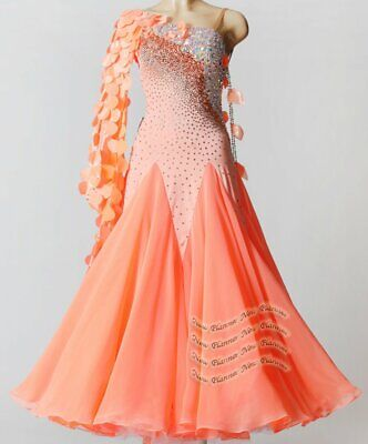 B8165 women Ballroom standard Tango Waltz Quickstep Dress UK 10 US 8 orange