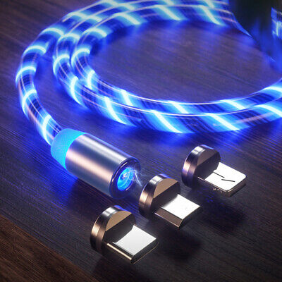 Magnetic LED Glow Data Cable USB-C Micro USB Charger USB Cord For iPhone Samsung