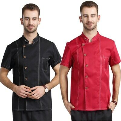 Chef Coat Short Sleeve Mesh Kitchen Apparel Fashion Breathable Cook Uniforms
