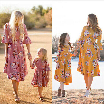 Mother and Daughter Dress Mom Evening Floral Party Prom Casual Beach Matching