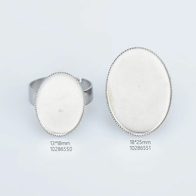 Stainless Steel Oval Adjustable Ring Blank Base Cabochon Ring Setting 10pcs