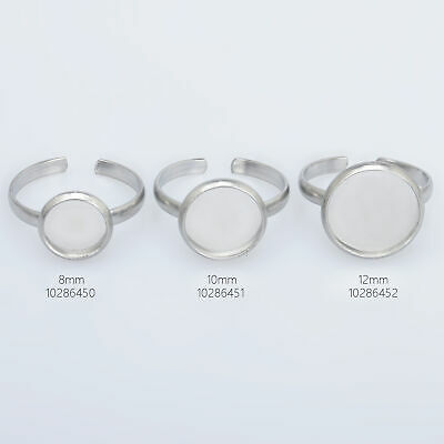 Stainless Steel Ring Blanks Adjustable Bezel Ring Tray Circle setting 10pcs