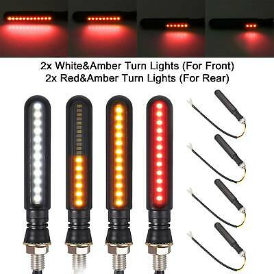 4X24LED Motorcycle Sequential Flowing Turn Signal Light Indicator Amber Lamp