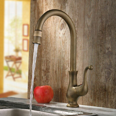 Classic Lelan Traditional Single Handle 1-Hole Kitchen Sink Faucet Antique Brass