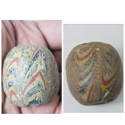 Very lovely rare old mosaic glass gigantic bead