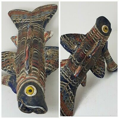 Roman very rare old mosaic glass fish rhyton