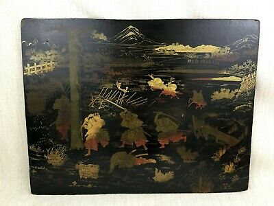 Antique Japanese Lacquer Wooden Panel Meiji Plaque Samurai Warrior Landscape