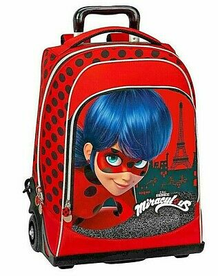Miraculous Zaino Trolley Scuola Elementare Miraculus Rosso Lady Bug Panini Zip