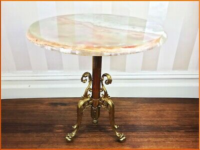 ANTIQUE 50cm FRENCH ONYX SIDE TABLE GILT BRASS COFFEE ROUND MARBLE VINTAGE DECO