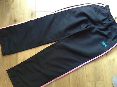 11-12 Years Girl's Designer Lonsdale Black Sports Trousers Bottoms