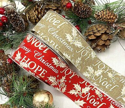 "2"" Wired Merry Christmas Ribbon - Red Natural Gold Glitter Cake Tree Wreath Bow"