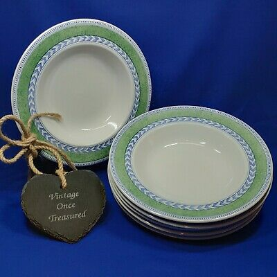 """Johnson Brothers Jardiniere Green - 6 x Rimmed Soup / Pasta Bowls (8.75"""") VGC"""