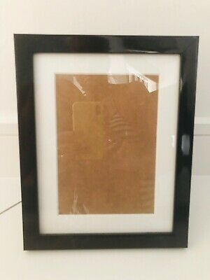 """Black Picture Photo Frame,Plastic Glossy Finish 8"""" x 10"""" with White Mount Insert"""