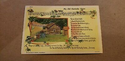 Vintage Postcard Song and drawing My Old Kentucky Home