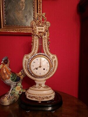 VERY RARE!  French Marie Antoinette mystery lyre clock, 8 day brilliant bezel