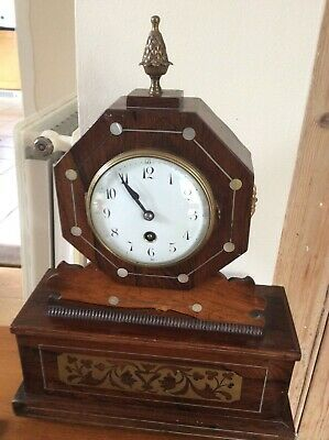 Rosewood Cased Mantel Clock With Brass Inlay & Mother of Pearl Inlay, French.