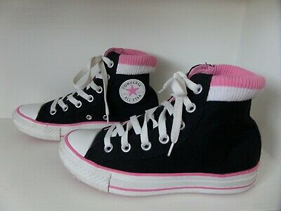 Converse All Star Chuck Taylor Girl's Black, Pink & White Hi Top Trainers 3.5