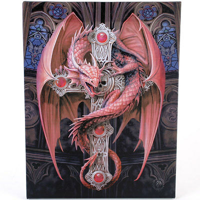 """Gothic Guardian Canvas Wall Plaque by Anne Stokes 10"""" x 7.5"""" Dragon"""