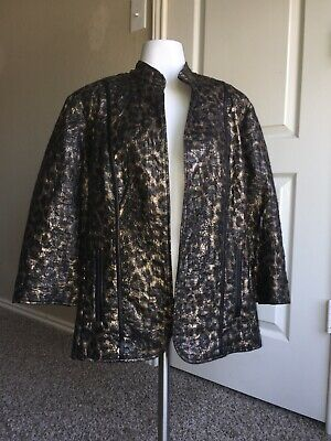 Womens Chicos Black and Gold Open Front Jacket Size 3