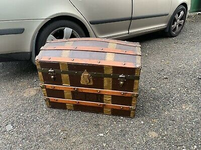 Antique Victorian Domed Travel Steamer Trunk Chest Basket Leather Canvas Bound