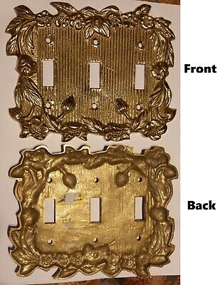 Vintage Fritz Brass tripple Light Switch Cover Plate