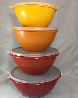 Tupperware Wonderlier Autumn Harvest 4 Nesting Bowls with Lids 234 235 236 237